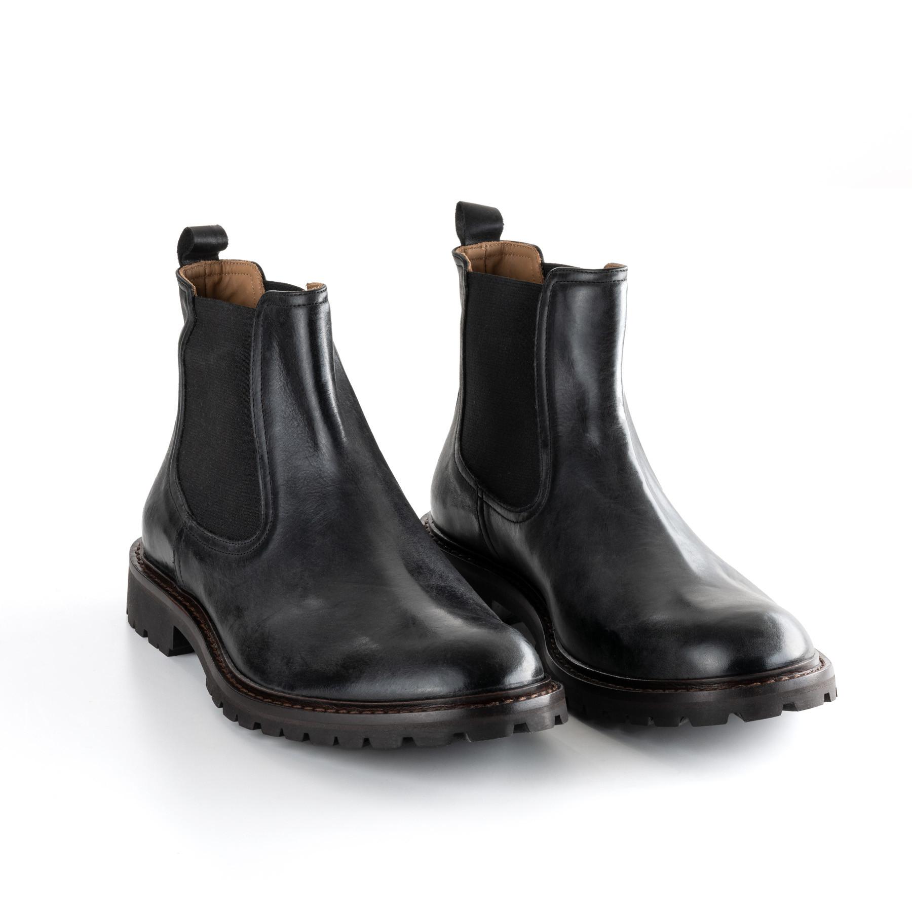 Chelsea Boots in braunem Büffellelder mit originbal Kreppsohle